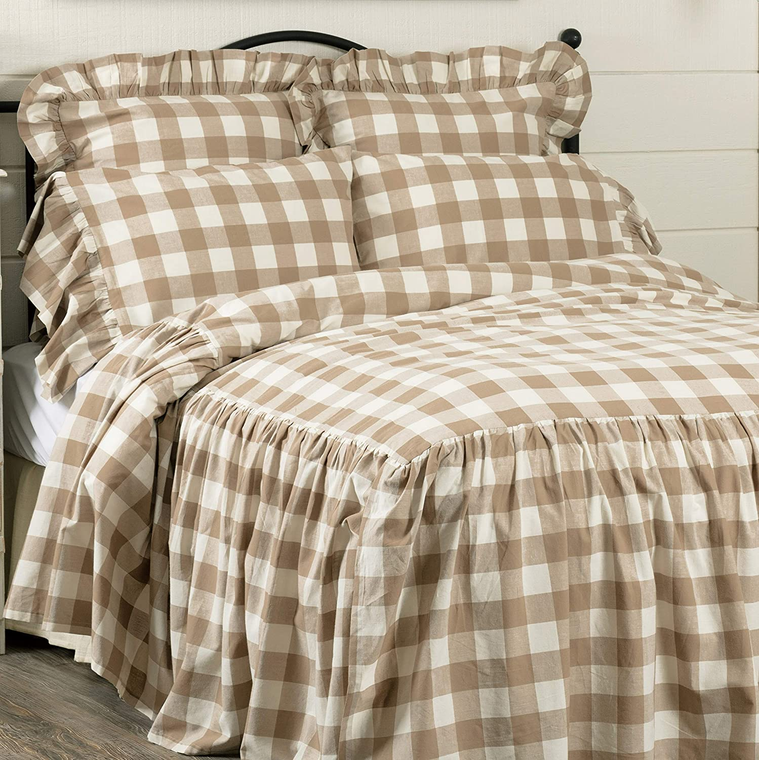 "Piper Classics Rebecca Skirted Bedspread, King Size w/ 27"" Ruffled Skirt, Taupe & Cream Buffalo Check, Vintage Farmhouse or Country Cottage Bedding"