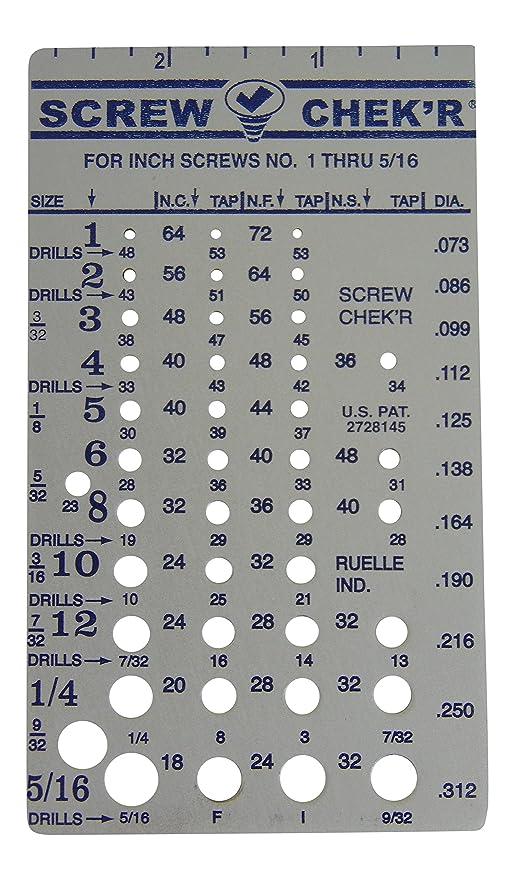 Screw Chek'r SAE/ Inch Screw Thread Size Gauge (No  1 to 5/16) 1/8 Inch  Heavy Gauge Steel Screw Checker, Made in USA