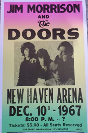 Jim Morrison and The Doors Concert at The New Haven Arena 1967 Poster : doors poster - Pezcame.Com