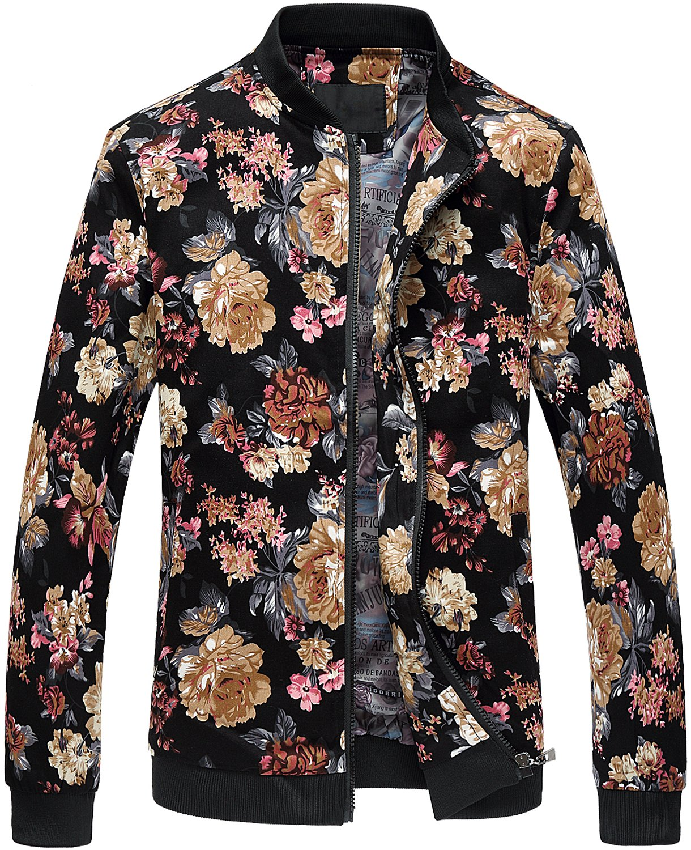 Men Vintage Floral Print Slim Fit Zipper Front Bomber Baseball Jacket by HENGAO