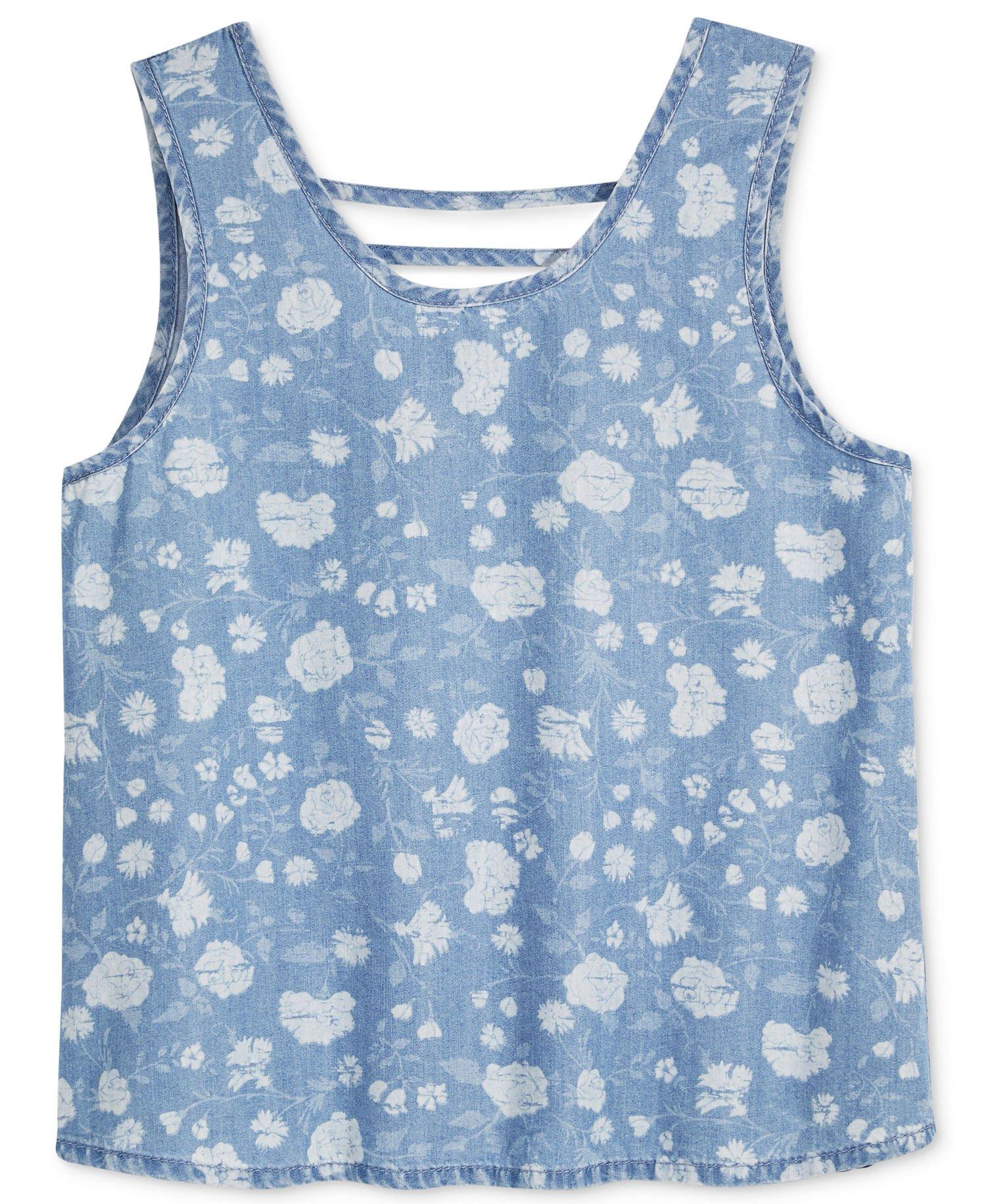 Tinsey Girls Tank Top (Small, Light Blue)