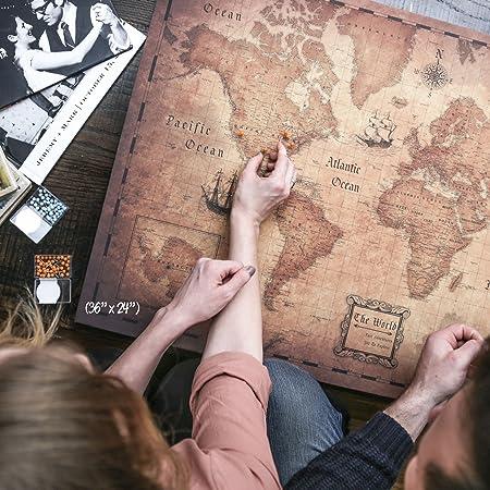 Amazon.com: Mapa de viaje de estilo envejecido dorado de ...