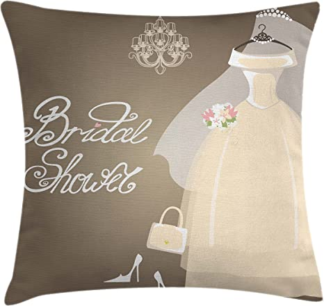 Amazon Com Ambesonne Bridal Shower Throw Pillow Cushion Cover Bride Party Wedding Dress Romantic Letterings Design Print Decorative Square Accent Pillow Case 28 X 28 Grey White And Pale Brown Home Kitchen
