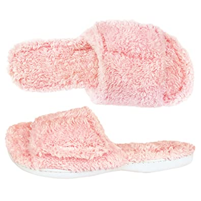 207cac3f7aa Dearfoams Fuzzy Terry Pink Slide Slippers (M (7-8))