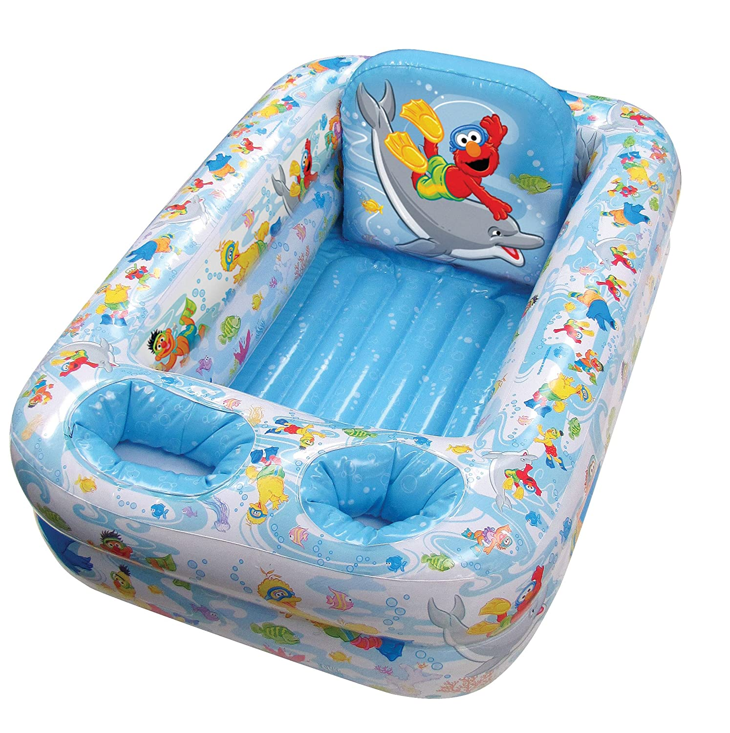 Amazon.com : Sesame Street Inflatable Safety Bathtub, Blue : Baby ...