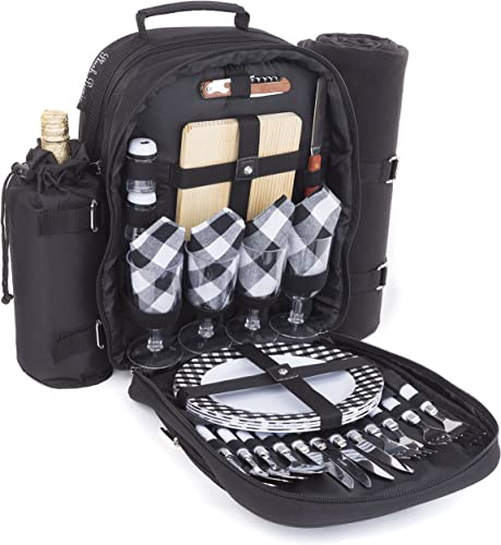 Plush Picnic – Picnic Backpacks Four Person Black