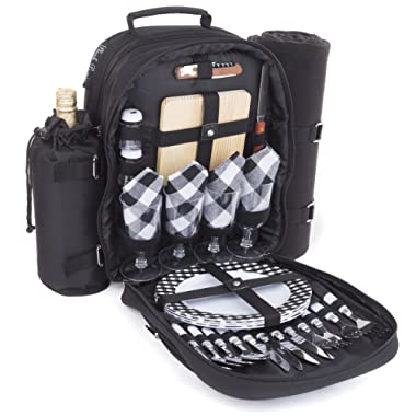 Plush Picnic - Picnic Bag Backpack/Insulated Picnic Basket with Cooler Compartment, Detachable Bottle/Wine Holder, Fleece Blanket, Plates and Cutlery Set (4 Person)