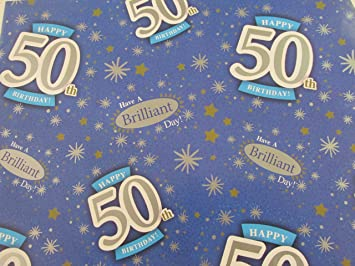 50th Birthday Wrapping Paper Gift Wrap 2 Sheets 1 Tag 50 Party