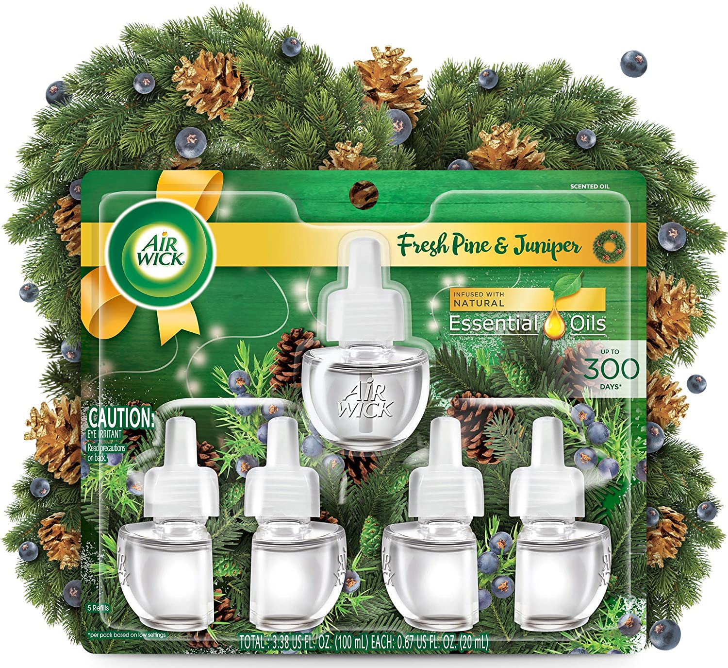 Air Wick Plug in Scented Oil 5 Refills, Fresh Pine and Juniper, Fall Scent, Fall Spray, (5x0.67oz), Essential Oils, Air Freshener, Packaging May Vary