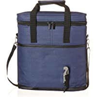 Vina 3 Bottle Wine Carrier - Travel Insulated Wine Carrying Case Tote Bag for Champagne Picnic Cooler Blue + Free Corkscrew