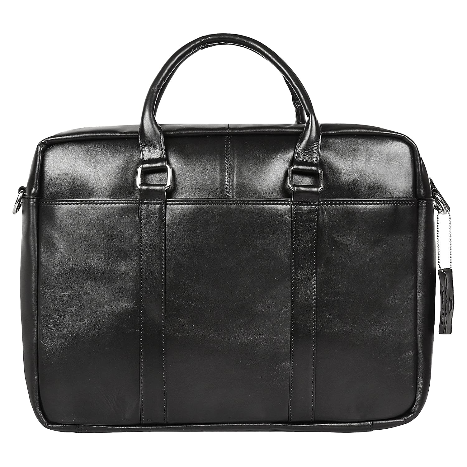 478787a520230 OMAX Men s Single Compartment Black Leather Laptop Bag  Amazon.in  Bags