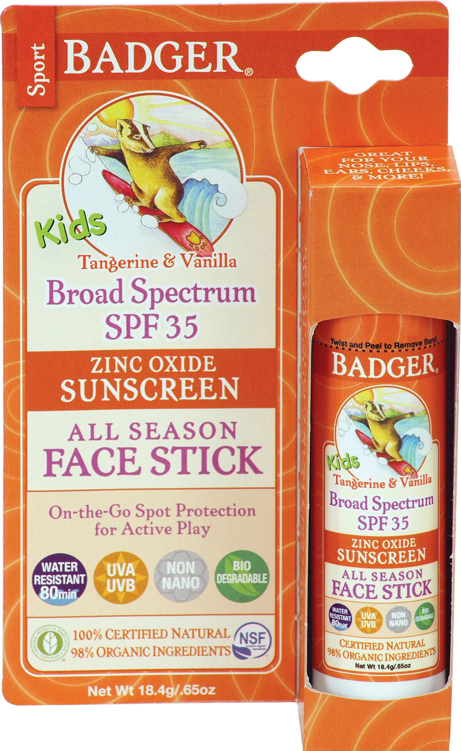 Badger Balm Kids Face Stick - 35 - Tangerine and Vanilla - 0.65 oz