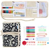 Teamoy Ergonomic Crochet Hooks Set, Canvas Wrap Organizer Roll Up, Knitting Needle Kit with 9pcs 2mm to 6mm Soft Grip Crochets and complete Accessories, Functional and Easy to Carry, Animal World