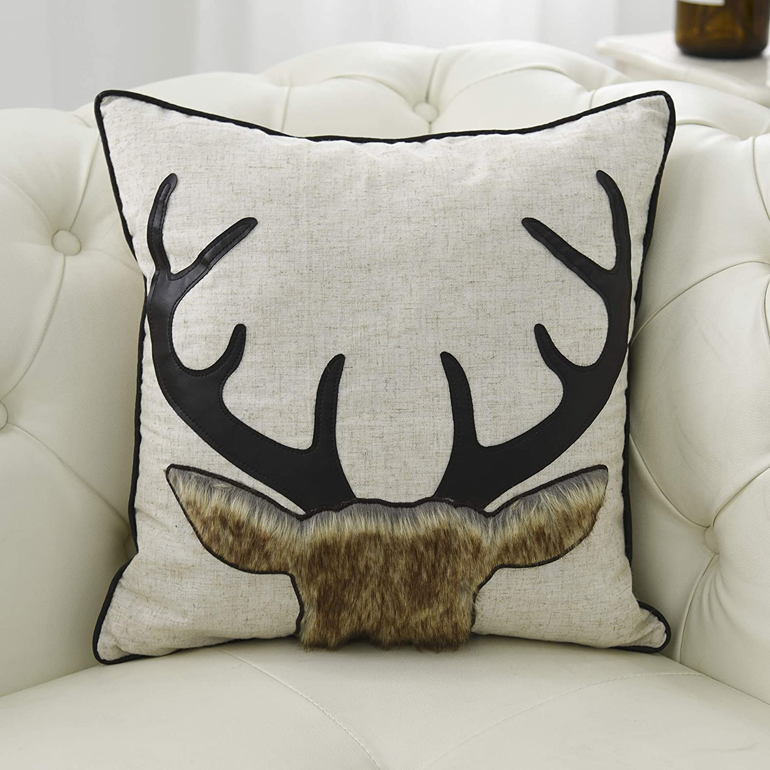 Amazing Little Funny Cotton Linen Deer Pillow Covers Decorative 3D Deer Pillowcase Square Cushion Cover With Faux Leather And Fur Applique For Sofa Bed 18X18 Caraccident5 Cool Chair Designs And Ideas Caraccident5Info