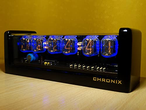 Vintage Nixie Tube Clock with 6xIN-12 displays Alarm Blue Backlight Black Glossy Wooden case CHRONIX