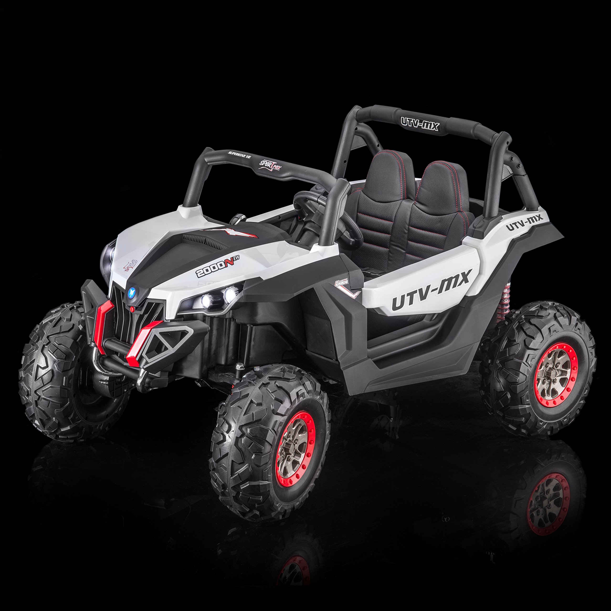 SPORTrax UTV Screemer, 2 SEATER, 4WD Kid's Ride On Vehicle, Battery Powered, Remote Control w/FREE MP3 Player - White