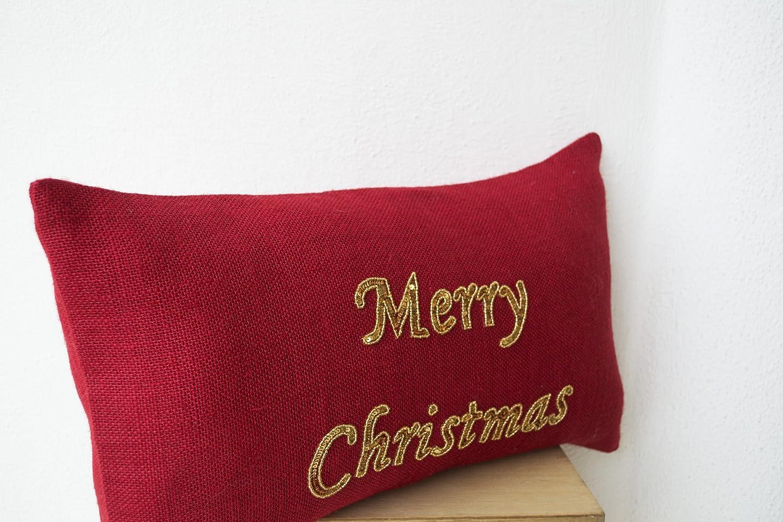 Amazon.com: Merry Christmas Pillow Cover - Red Burlap Lumbar ...