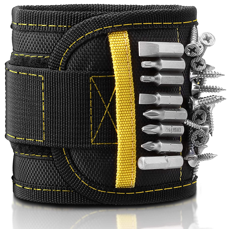 ELV Bracelet magné tique, 15 aimants puissants robustes Tenue Petits outils en mé tal Vis, é crous, boulons, forets, ongles et 2 poches pour tenir non magné tique outils pour homme Dad DIY Bricoleur é lectrici