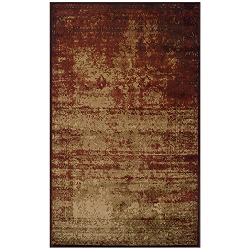 Blue Nile Mills Afton 4 x 6 Auburn Area Rug, Contemporary Living Room Bedroom Area Rug, Anti-Static and Water-Repellent for Residential or Commercial Use, 4-feet by 6-feet