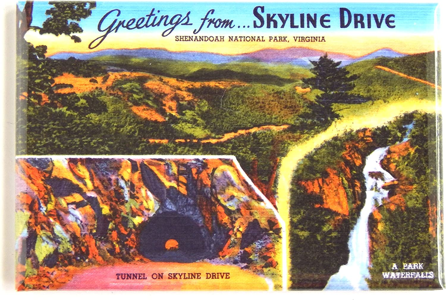 Greetings from Skyline Drive Virginia Fridge Magnet (2 x 3 inches) style C