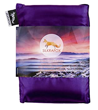 Silkrafox Saco de dormir ultraligero para las excursiones de senderismo, los viajes, las acampadas, seda artificial, lila: Amazon.es: Deportes y aire libre