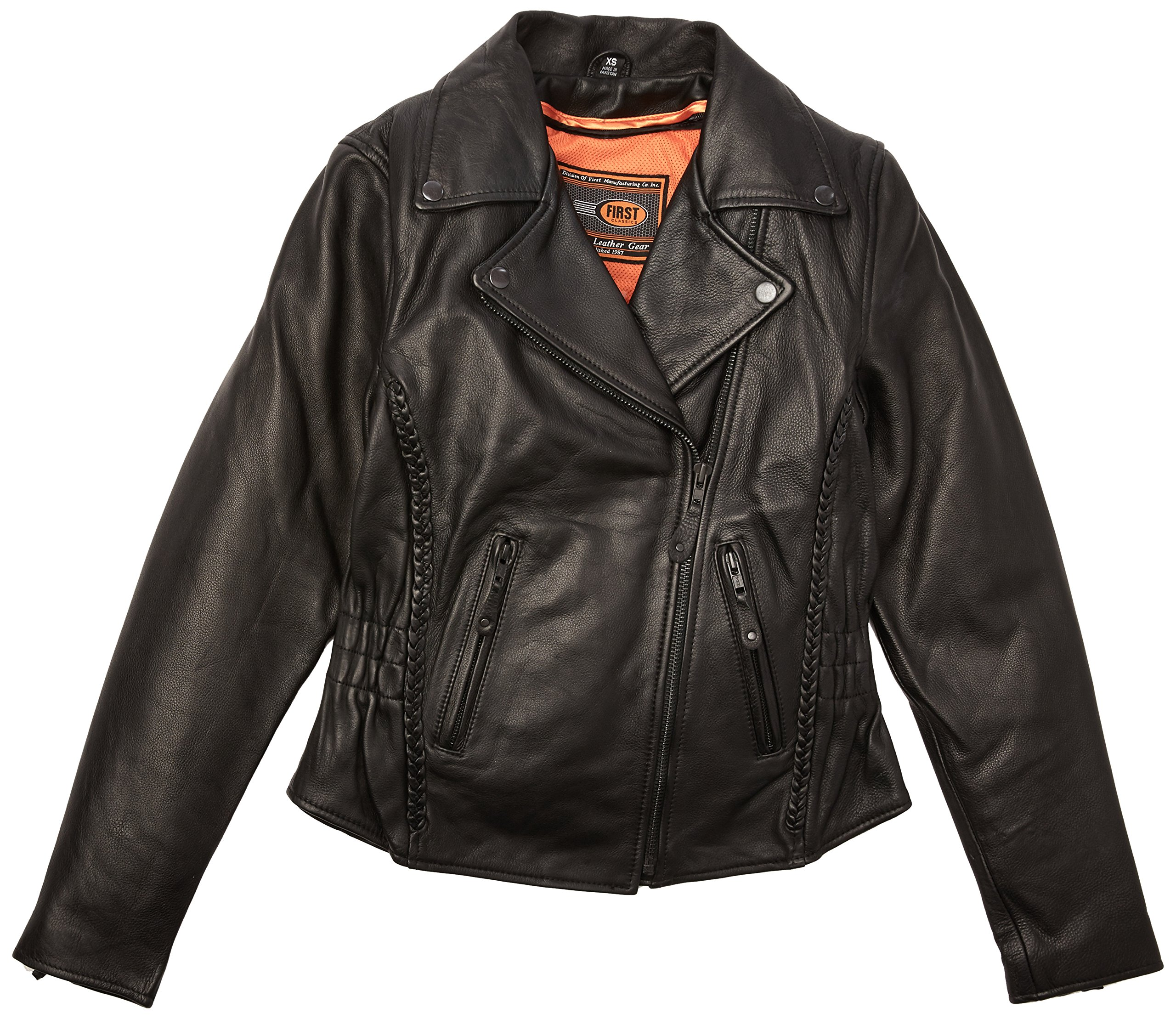First Manufacturing Women's Blacked Out Hourglass Motorcycle Jacket (Black, X-Small) by First Manufacturing