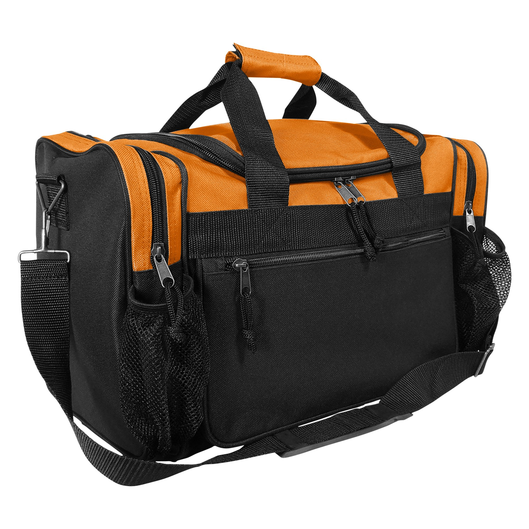 DALIX 17'' Duffle Bag Dual Front Mesh Pockets in Orange