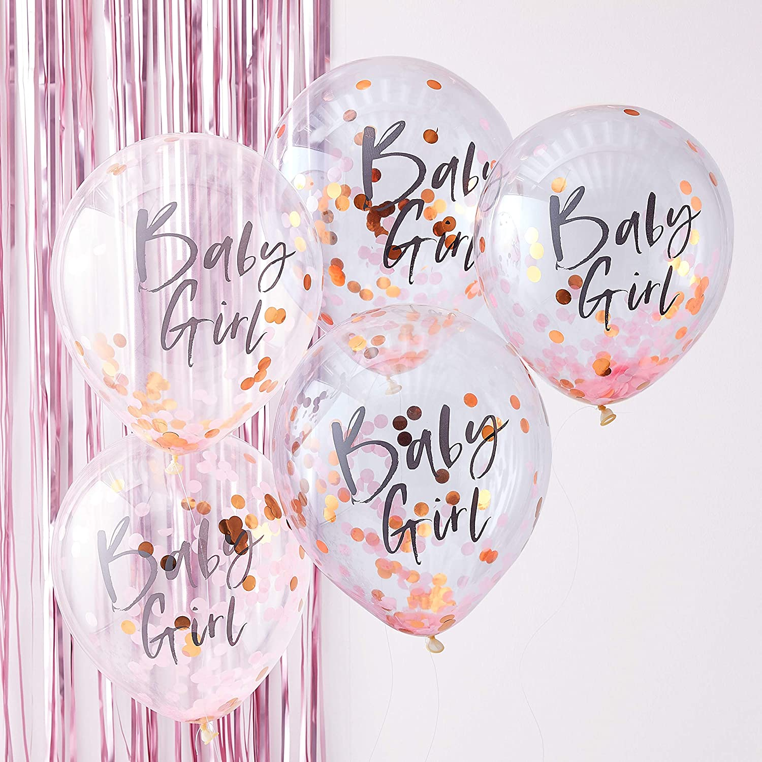 "Ginger Ray Twinkle Twinkle Rose Gold Foiled""Baby Girl"" Confetti Decorative Baby Shower Party Balloons"