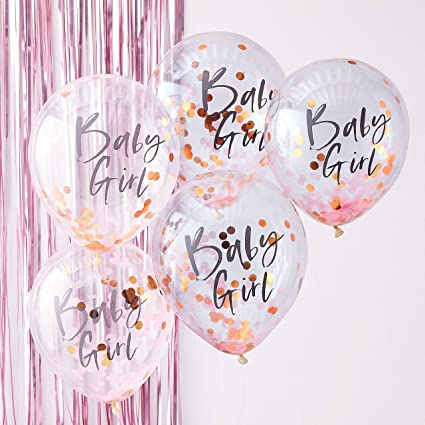 14af690c3 Amazon.com  Ginger Ray Pink   Rose Gold Baby Girl Confetti Balloons Baby  Shower Party Decorations - Twinkle  Toys   Games