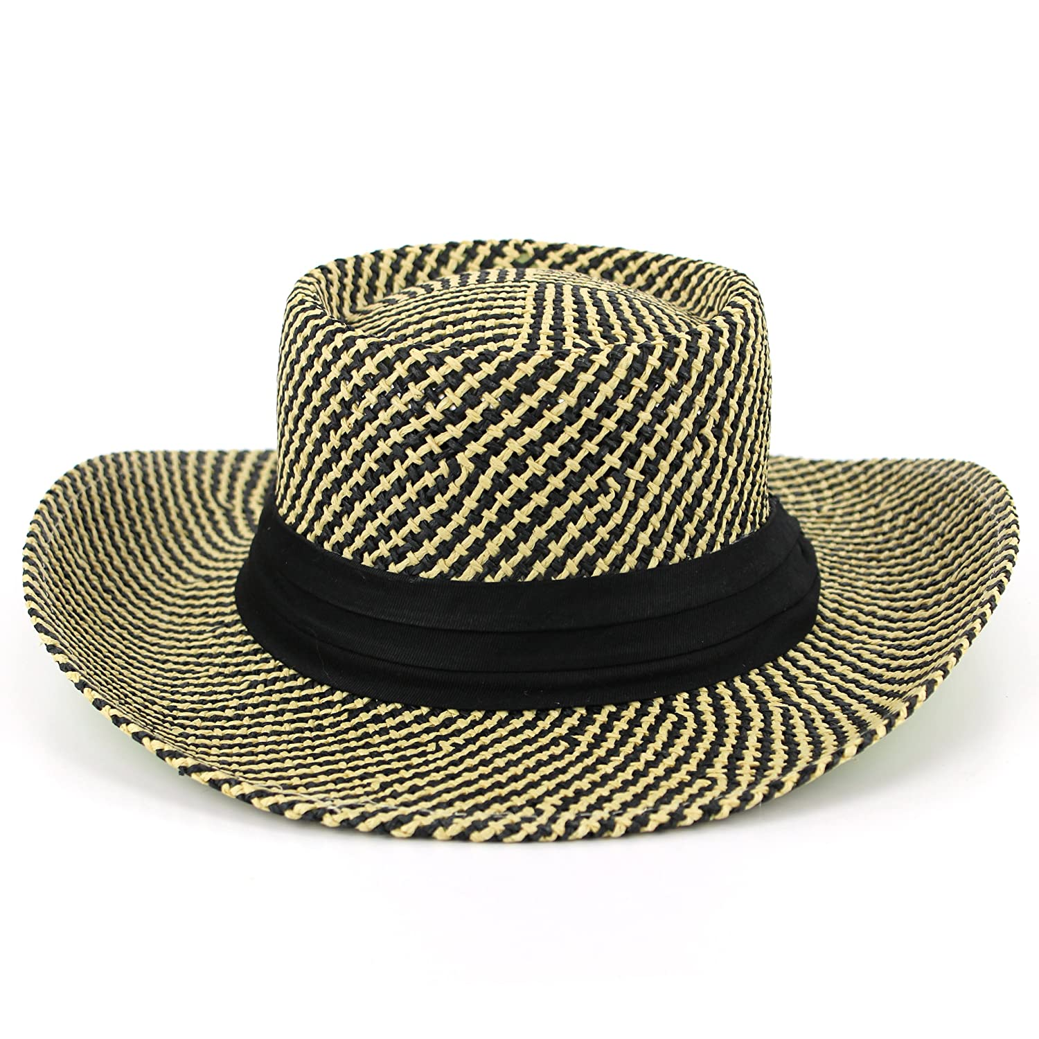 Straw hat black and natural lattice pattern with black band