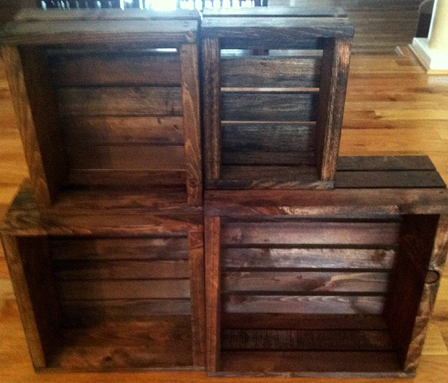 Amazoncom Vintage Stained Rustic Wood Crates Set