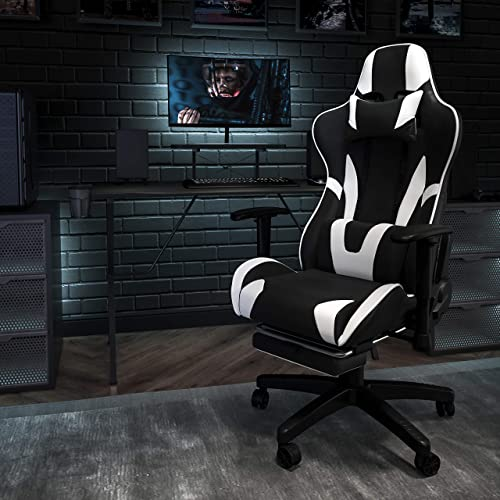 Flash Furniture Black Gaming Desk and Black Footrest Reclining Gaming Chair Set