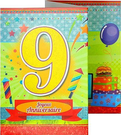 Afie 882109 Carte 3 Volets Joyeux Anniversaire 9 Ans Amazon Fr Fournitures De Bureau