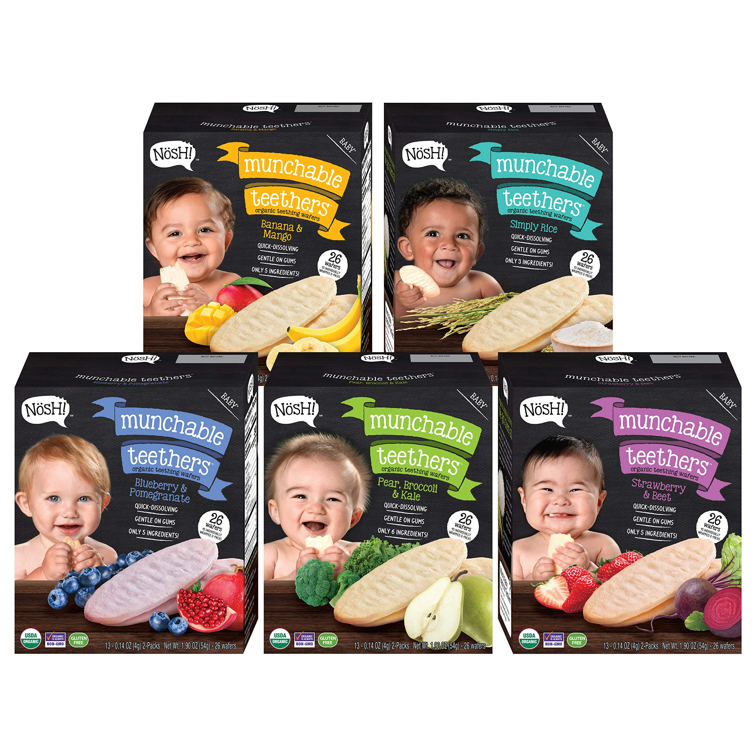 Nosh Baby Munchable Teethers Organic Rice Teething Wafers, 26 Piece, Variety Pack (Pack of 5) by nosh