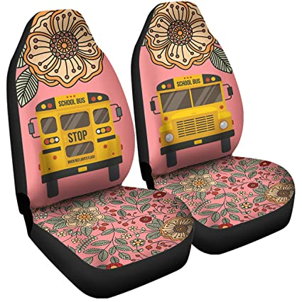 Amazoncom Gnarly Tees Floral School Bus Car Seat Covers Automotive