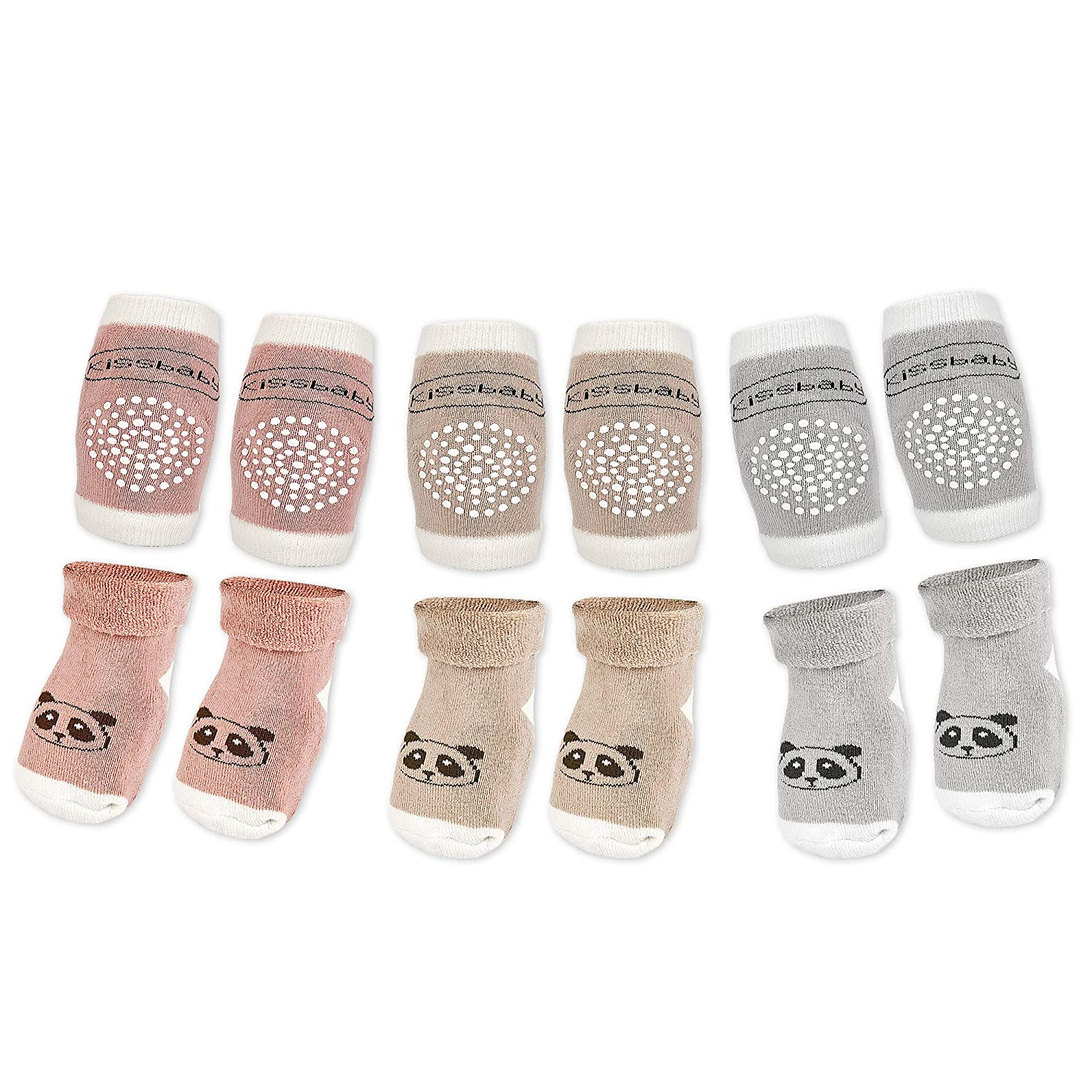 STAYcozy Crawling Anti-Slip Knee Pads and Socks PREMIUM Terry Cotton, 3 Pairs Non Slip Socks/ 3 Pairs Non Slip Knee Pads Toddler, Infant, Baby, Unisex (6 TOTAL PAIRS)