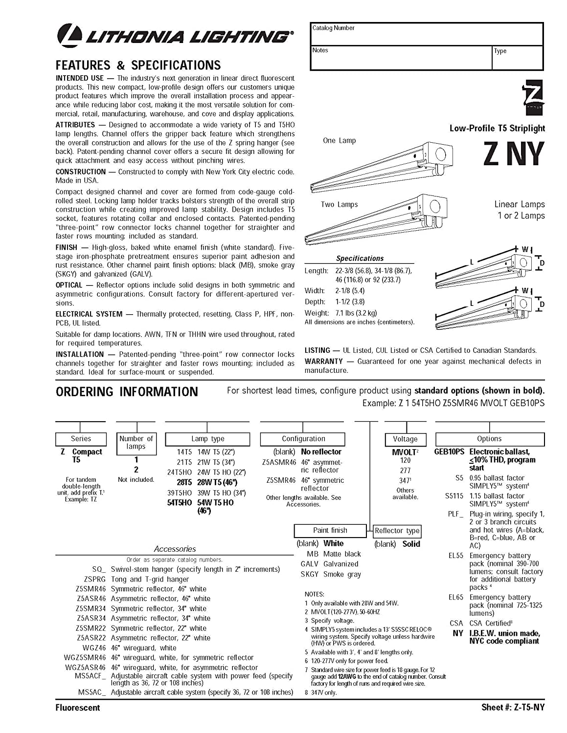 Amazon.com: Lithonia Lighting Z 1 28T5 MVOLT GEB10PS 1-Light T5 ... for T5 Tube Light Specification  45ifm