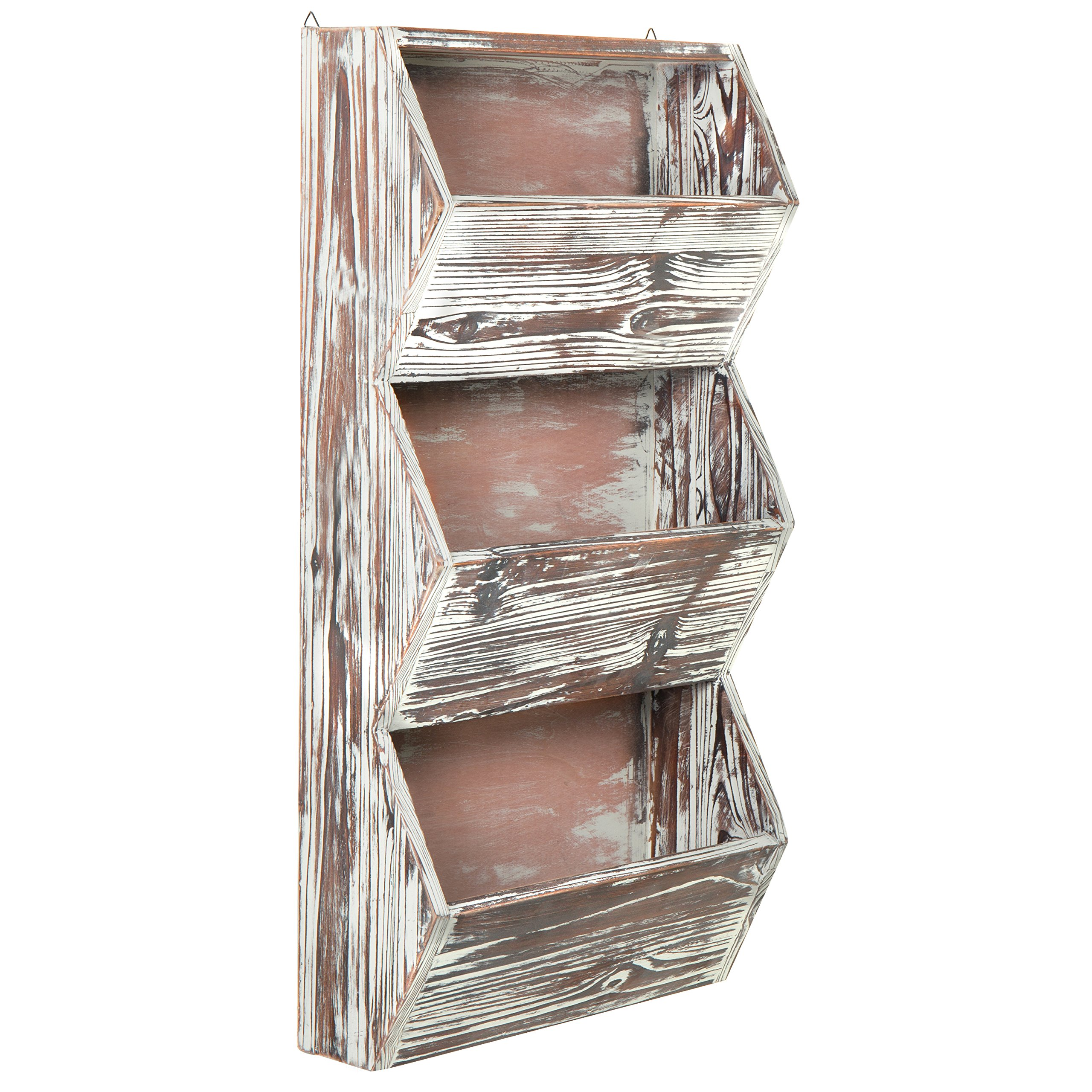 3 Tier 30 inches Rustic Torched Wood Wall Mounted Storage Organizer Rack, Hanging Multipurpose Open Bins
