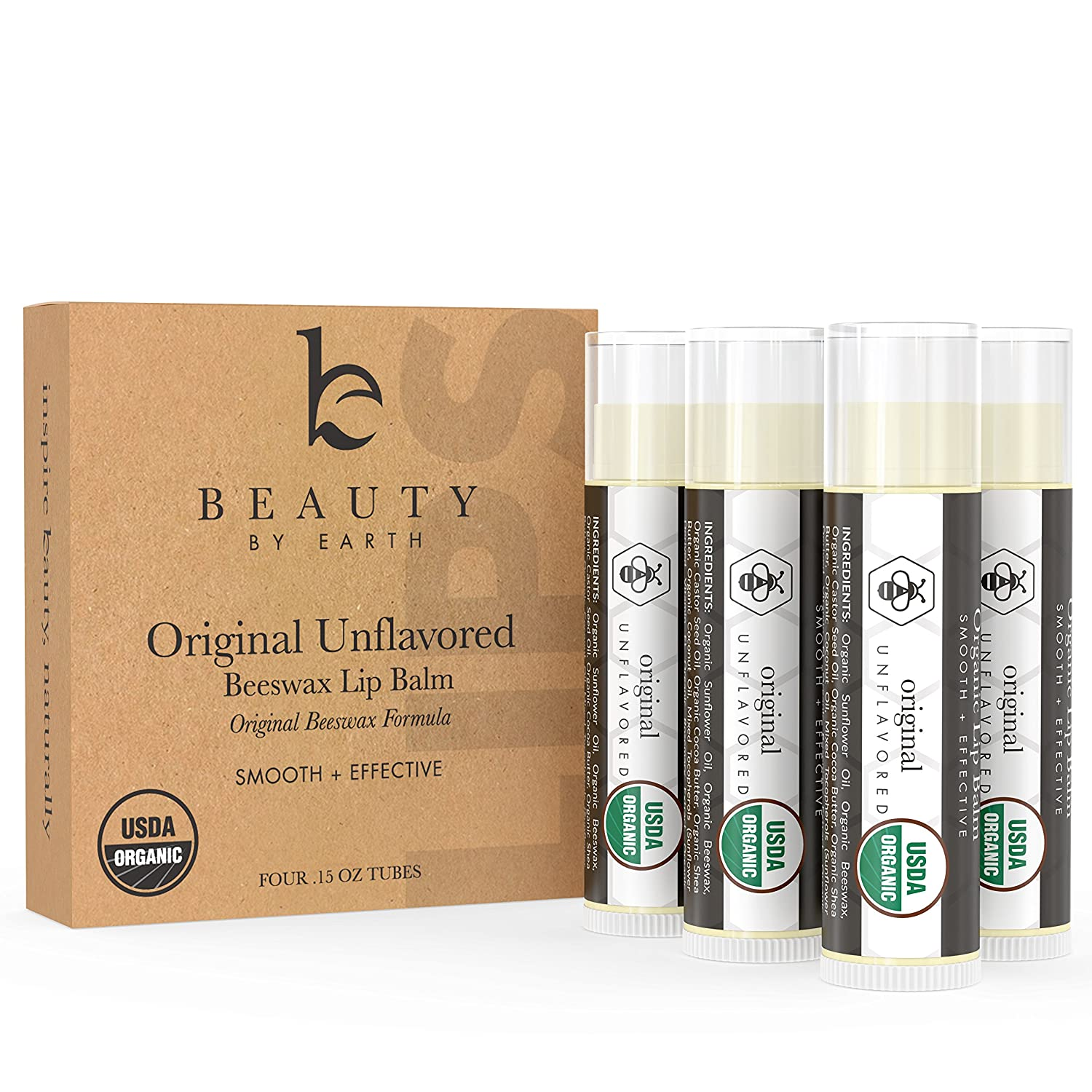 Beauty By Earth Lip Balm Organic Unflavored; With Pure and Natural Beeswax for a Clear Gloss Finish; Nourishing and Hydrating Long Lasting Formula for Moisturizing Smooth Lips (4 Tubes in Pack)