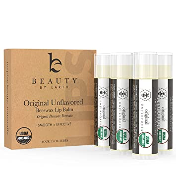 be0167df0f5 Lip Balm - Organic Pack of 4 Tubes Unflavored Original Moisturizer to  Repair for Dry