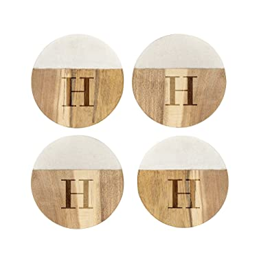 Cathy's Concepts Set of 4 Personalized Marble & Acacia Wood Coasters Letter - B