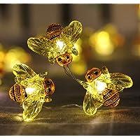 WSgift Handmade Crystal Honeybee String Lights, 18.7 Ft 40 LED USB Interface Copper Wire Honeybee Fairy Lights for…
