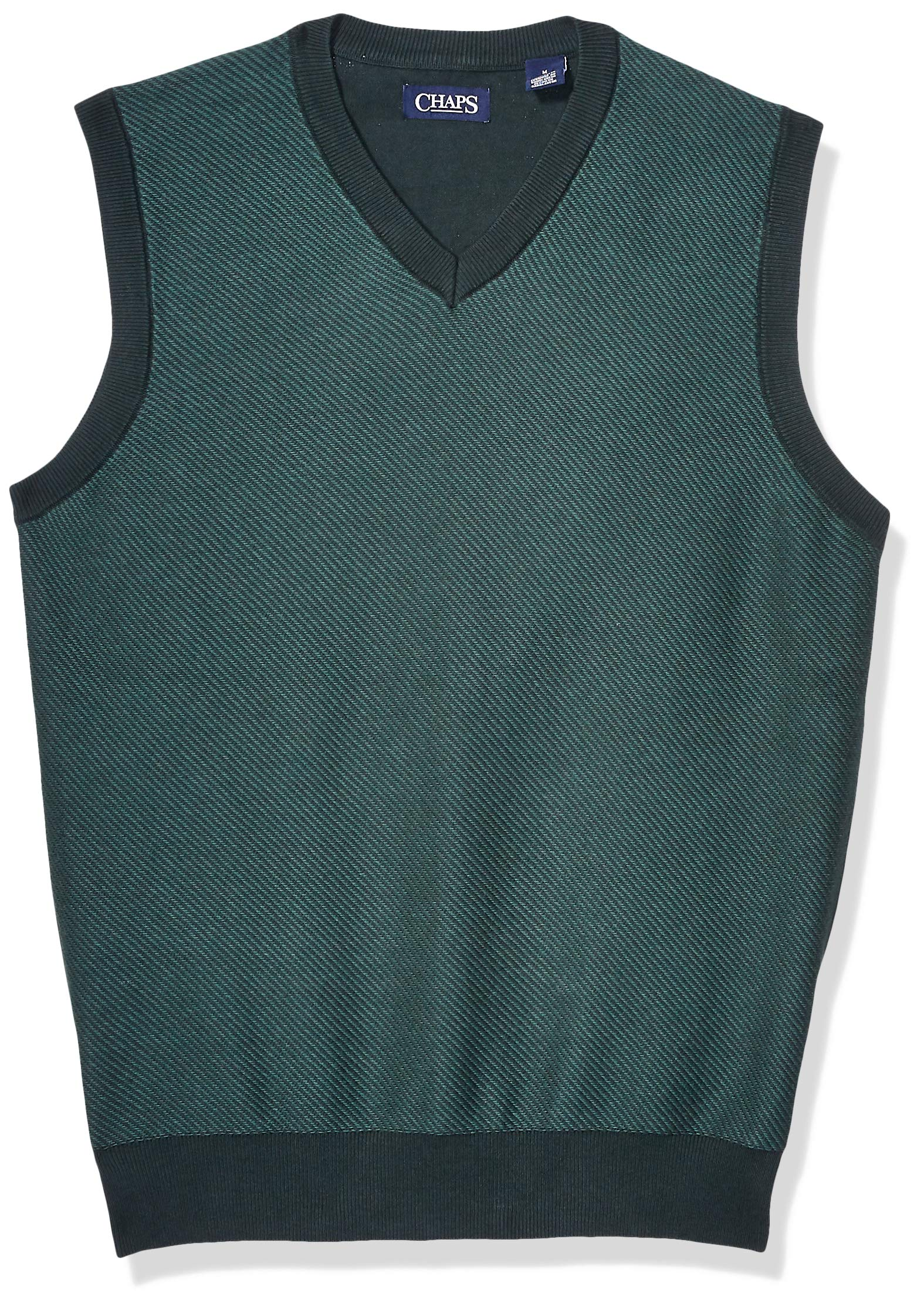 Chaps Men's Cotton V-Neck Sweater Vest, Hunt Club Green Multi, XXL by Chaps