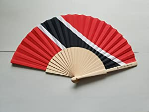 Fans Of Our Nation Trinidad and Tobago Flag Fabric Folding Hand Fan with Bamboo Handle