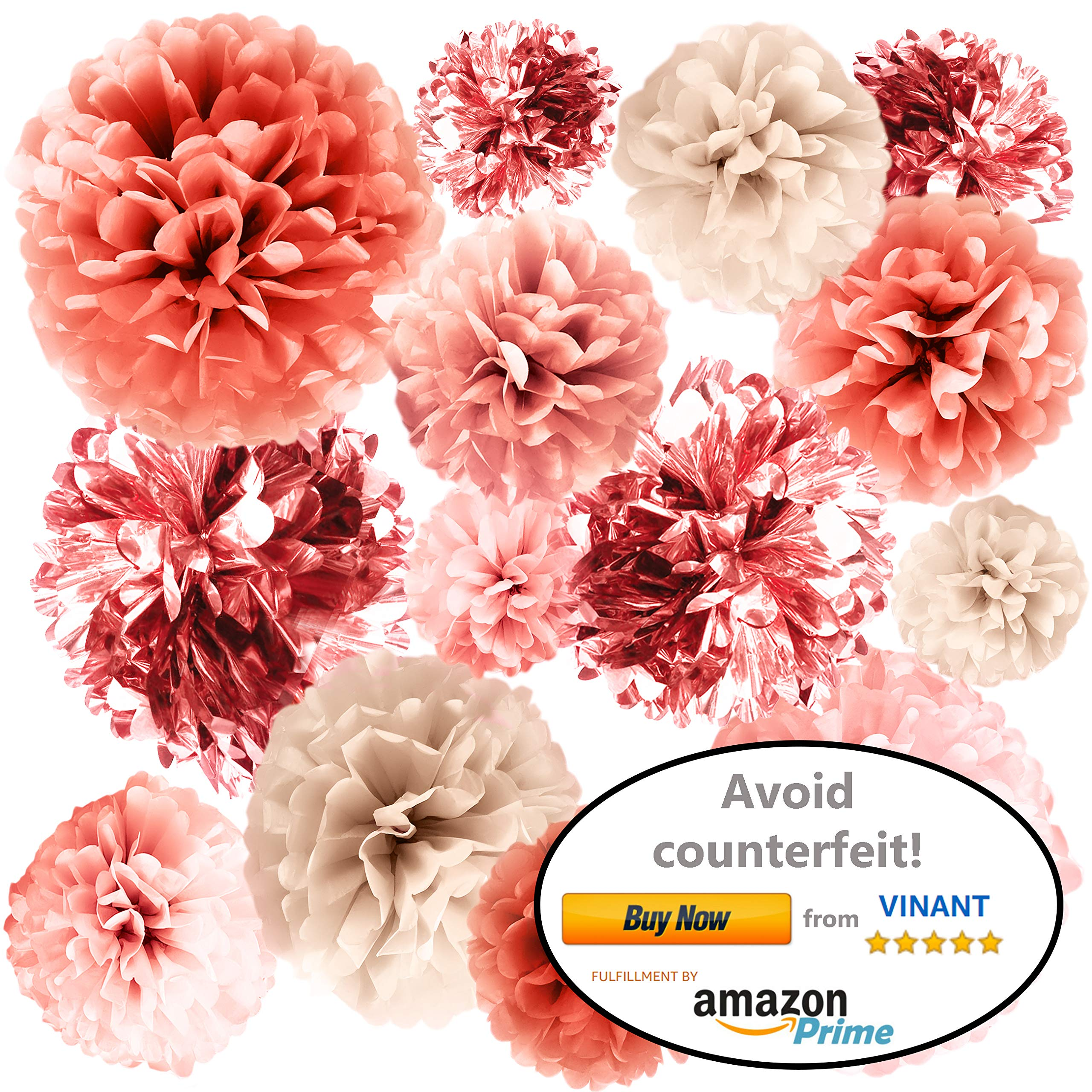 VINANT 20 PCS Rose Gold Party Decorations - Metallic Foil and Tissue Paper Pom Poms - Baby Shower - Bridal Shower - Wedding - Bachelorette - Birthday Party - 14'', 10'', 8'', 6'' by VINANT