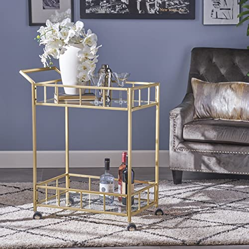 Christopher Knight Home Louise Indoor Industrial Modern Iron and Glass Bar Cart, Gold