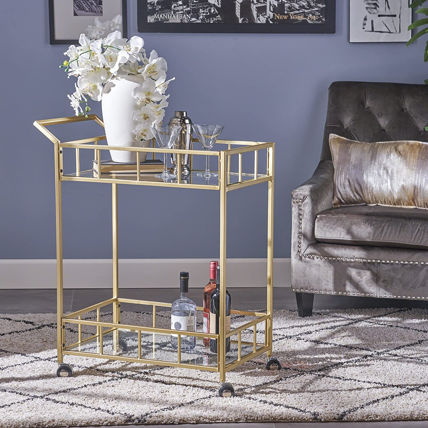 Louise Indoor Industrial Modern Iron and Glass Bar Cart, Gold Great Deal Furniture