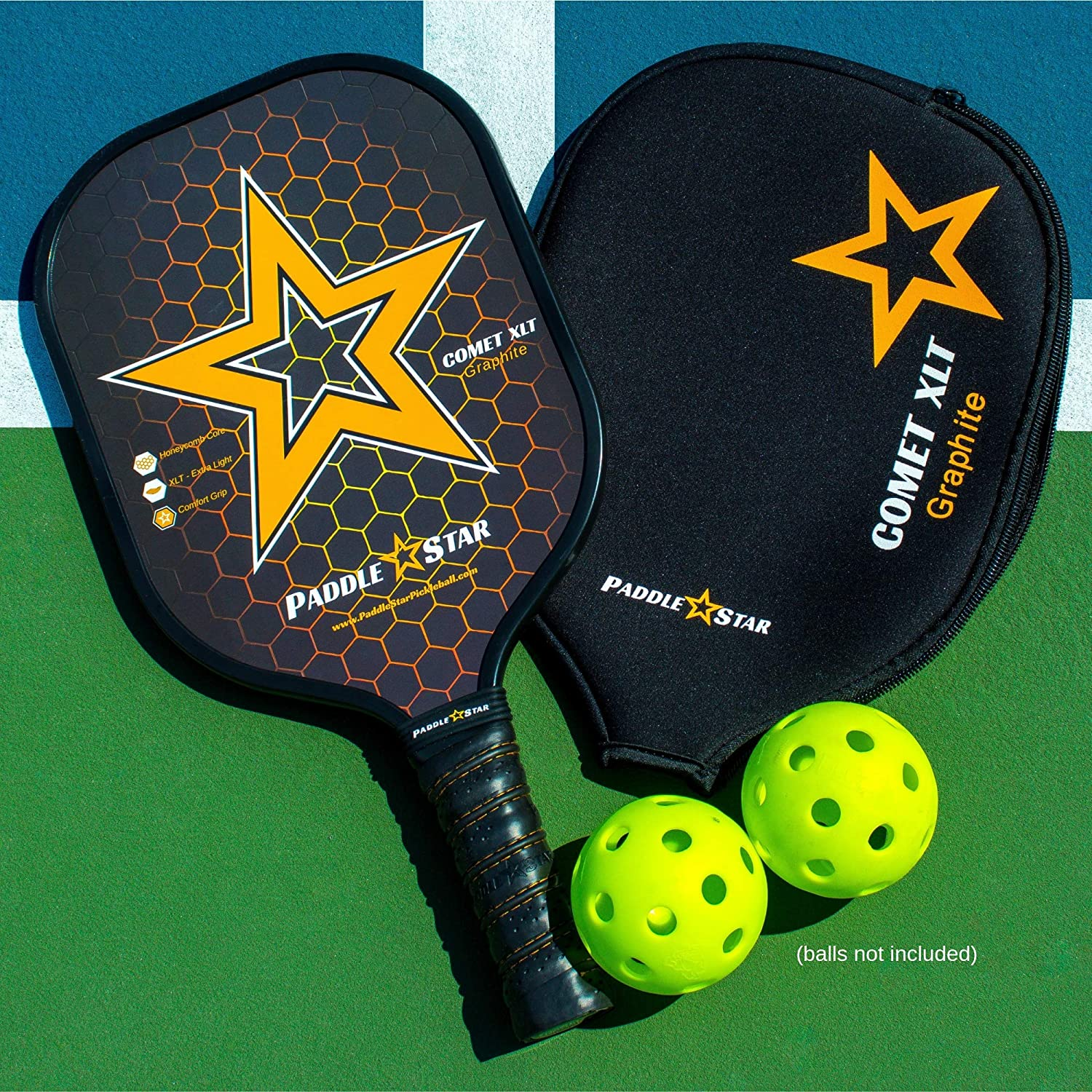 Paddle Star Comet XLT Graphite Pickleball Paddles - Polymer Honeycomb Core w/Comfort Grip for Elite Ball Control, Spin & Power - Premium 7.5 oz Set ...