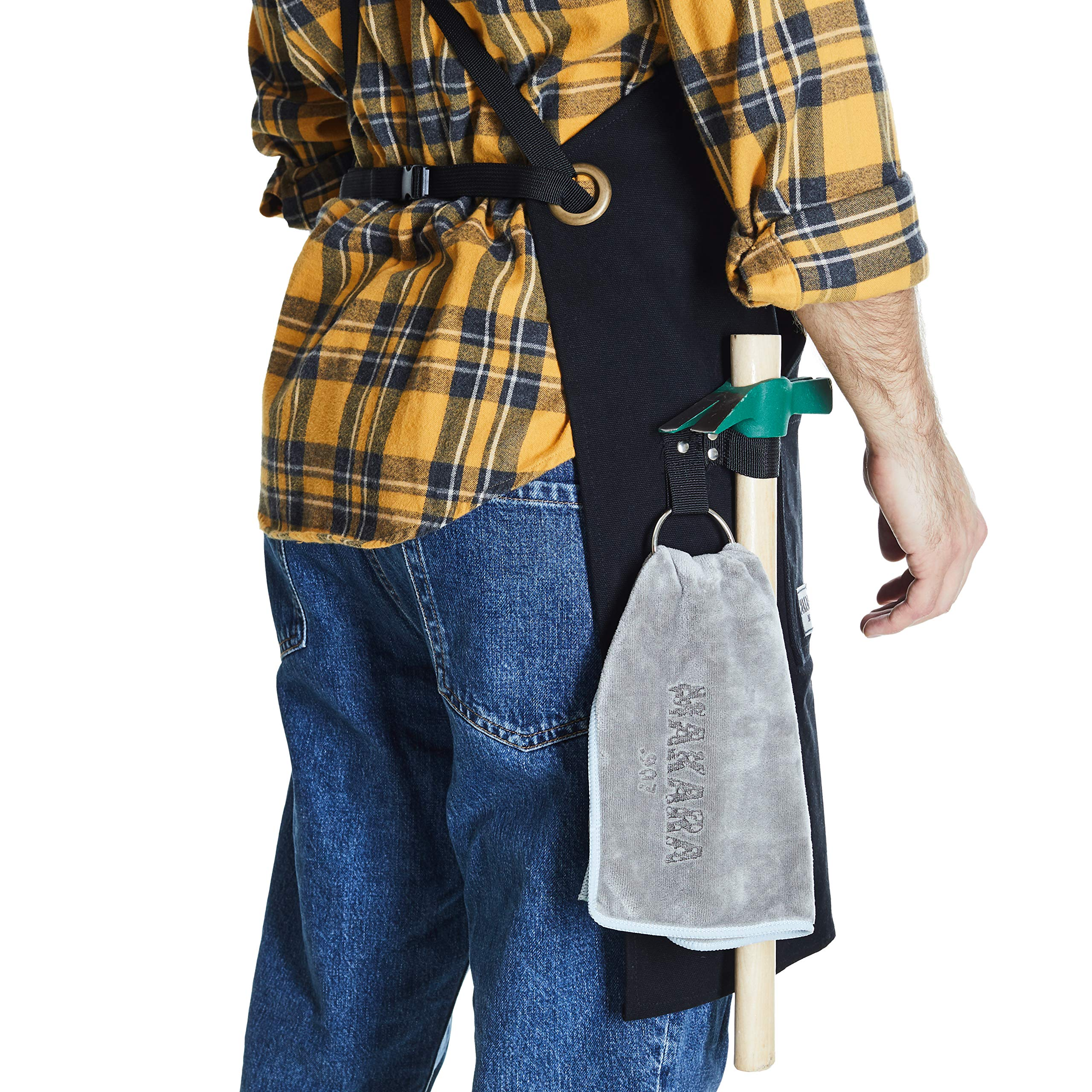 Shop, Work Apron - Waxed Canvas woodworking apron with 6 Spacious Pockets - Durable Apron Tool with Microfiber Towel Included - No Neck Pain, Smart Cross-Back Straps Design - Fully Adjustable S to XXL by Makara.907 (Image #4)