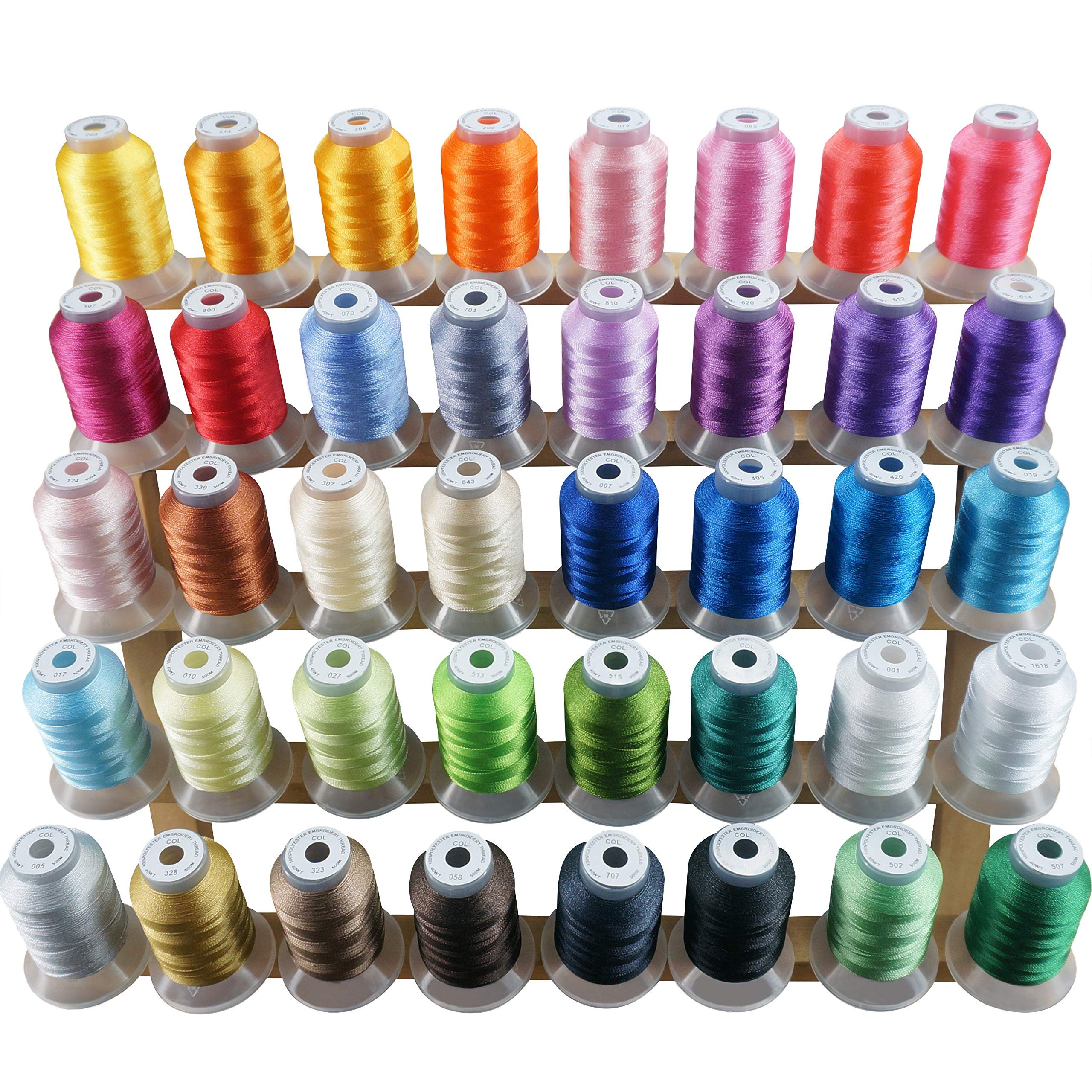 New brothread 40 Brother Colors Polyester Embroidery Machine Thread Kit 500M (550Y) Each Spool for Brother Babylock Janome Singer Pfaff Husqvarna Bernina Embroidery and Sewing Machines by New brothread